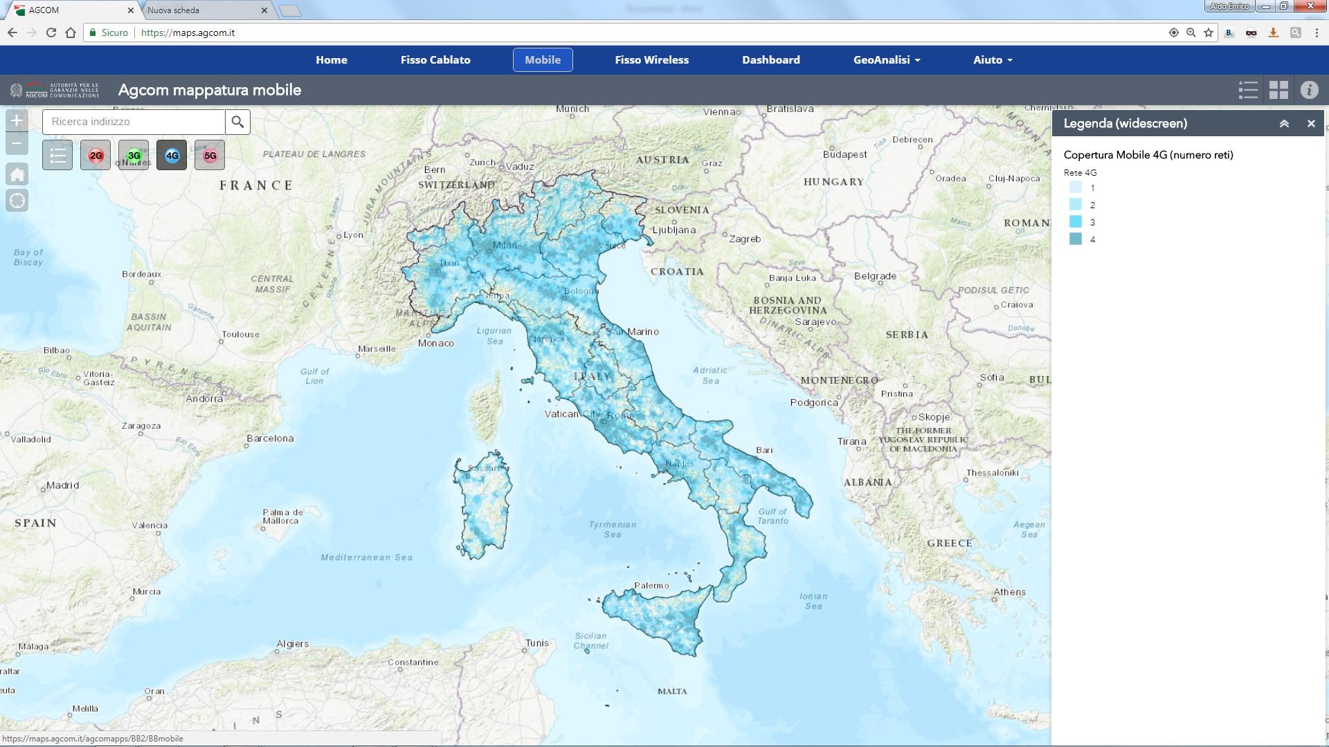 Cartina Italia Per Siti Web.Mappatura Delle Reti Di Accesso Ad Internet Agcom